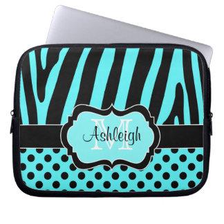 Aqua Black Zebra Stripes Polka Dots Laptop Case