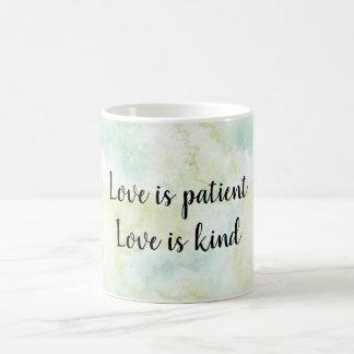 Aqua Bliss Leaves Watercolor Love is Coffee Mug