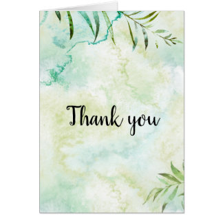 Aqua Bliss Leaves Watercolor Thank you Card
