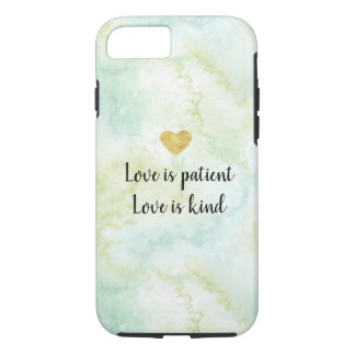 Aqua Bliss Watercolor Love Gold Heart iPhone 8/7 Case