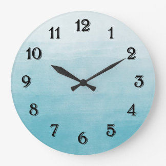 Aqua Bliss Watercolor Ombre Large Clock