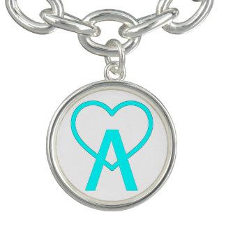 Aqua Blue A~Heart Charm Bracelet