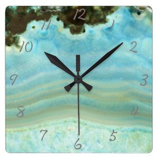 Aqua Blue Agate Geode Gemstone Crystal Pattern Square Wall Clock