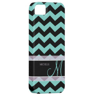 Aqua Blue and Black Chevron Pattern with Monogram iPhone 5 Covers