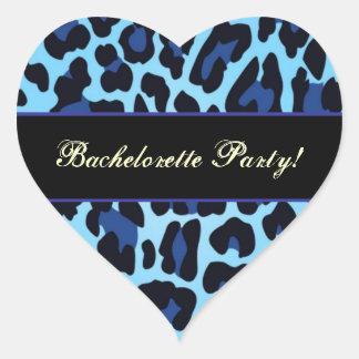 Aqua Blue and Black Leopard Party Sticker