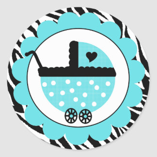Aqua Blue and Black Zebra Baby Shower Classic Round Sticker