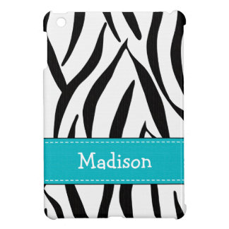 Aqua Blue and Black Zebra Print Case For The iPad Mini