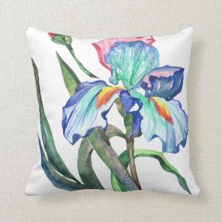 Aqua blue and blush pink watercolor iris flower throw pillow