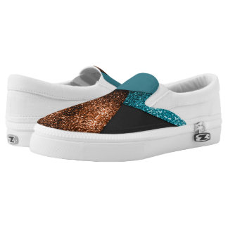 Aqua blue and bronze sparkles modern color block Slip-On sneakers