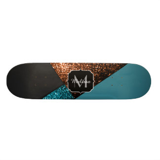 Aqua blue and bronze sparkles modern Monogram Skateboard Decks