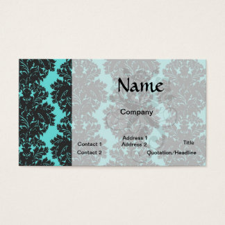 aqua blue and dark gray damask pattern business card