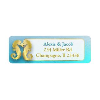 Aqua Blue and Gold Seahorses Kissing Return Labels