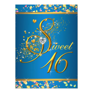 Aqua Blue and Gold Sweet Sixteen Party Personalized Announcement