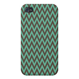 Aqua Blue and Gray Chevron Zig Zag Stripes iPhone 4 Covers