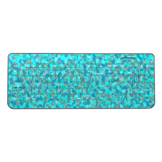 Aqua Blue and Green Camouflage Wireless Keyboard