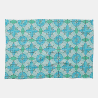 Aqua Blue and Green Geometric Tiled Pattern Kitchen Towel