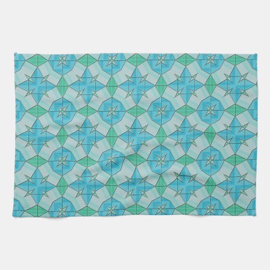 Aqua Blue and Green Geometric Tiled Pattern Towels