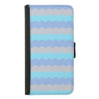 Aqua, blue and grey chevron samsung galaxy s5 wallet case