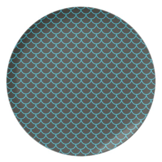 Aqua Blue and Grey Mermaid Pattern Plate