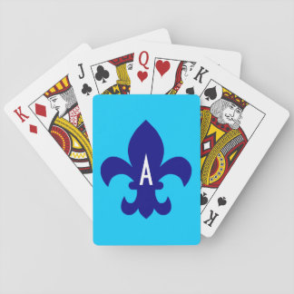 Aqua Blue and Navy Fleur de Lis Monogram Playing Cards