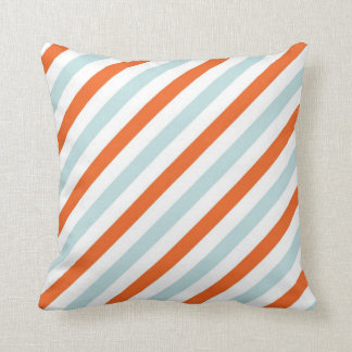 Aqua Blue and Orange Diagnal Striped Throw Pillow