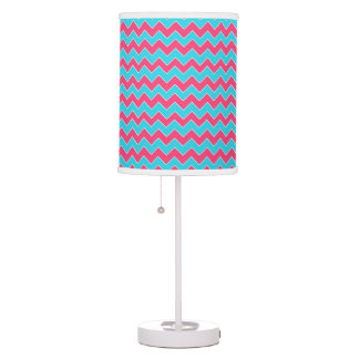 Aqua Blue and Pink Chevron Zigzag Pattern Table Lamp