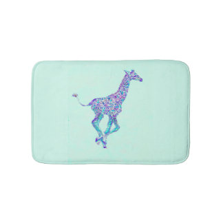 aqua blue and purple giraffe bath mat