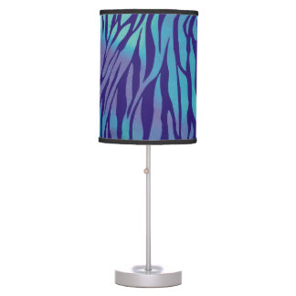 Aqua Blue And Purple Zebra Stripes Table Lamp