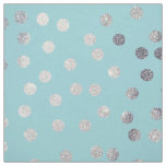 Aqua Blue and Silver Glitter City Dots Fabric