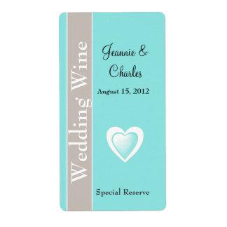 Aqua Blue and Taupe Wedding Mini Wine Label