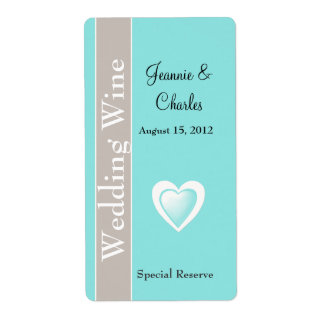 Aqua Blue and Taupe Wedding Mini Wine Label Shipping Label