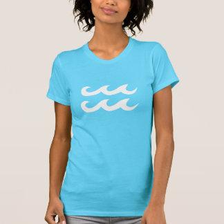 Aqua Blue and White Aquarius Symbol T-Shirt