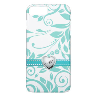 Aqua Blue and White Damask Pattern with Monogram iPhone 8 Plus/7 Plus Case