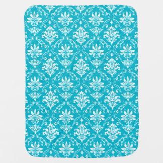 Aqua Blue and White Damask Swaddle Blankets