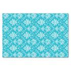 Aqua Blue and White Damask Tissue Paper