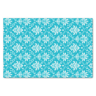 Aqua Blue and White Damask Tissue Paper
