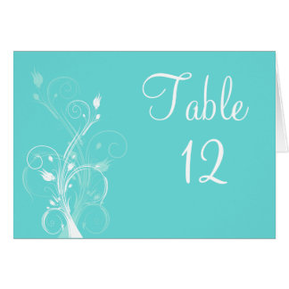 Aqua Blue and White Floral Table Number Card
