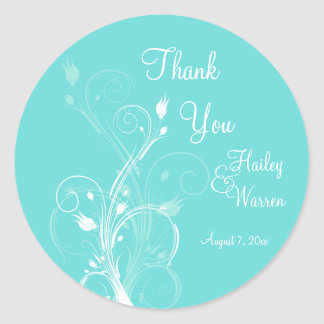 Aqua Blue and White Floral Wedding Favor Round Sticker