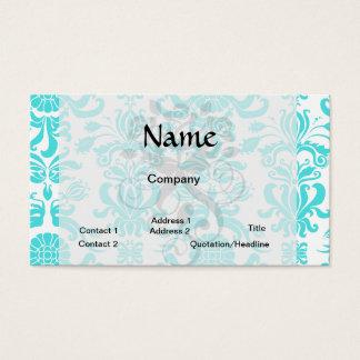 aqua blue and white intricate damask pattern business card