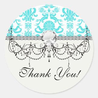 aqua blue and white intricate damask pattern classic round sticker