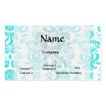 aqua blue and white intricate damask pattern pack of standard business cards
