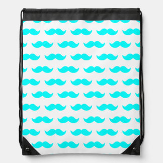 Aqua Blue and White Mustache Pattern 1 Drawstring Bag