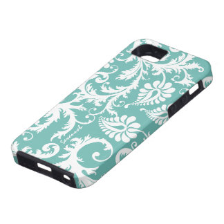 Aqua Blue And White Personalized Damask iPhone 5 iPhone 5 Cases
