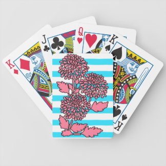 Aqua Blue and White Striped Floral Playing Cards