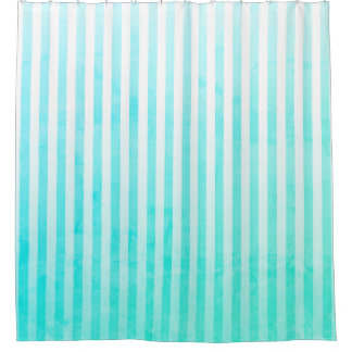 Aqua Blue and White Stripes