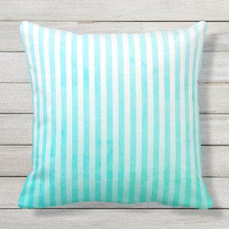 Aqua Blue and White Stripes Outdoor Pillow