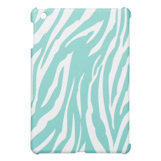 Aqua Blue and White Zebra Pattern iPad Mini Cover