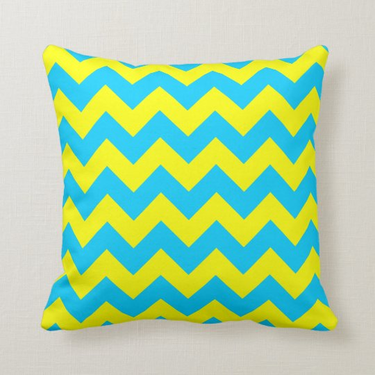 Aqua Blue and Yellow Zigzag Throw Pillow