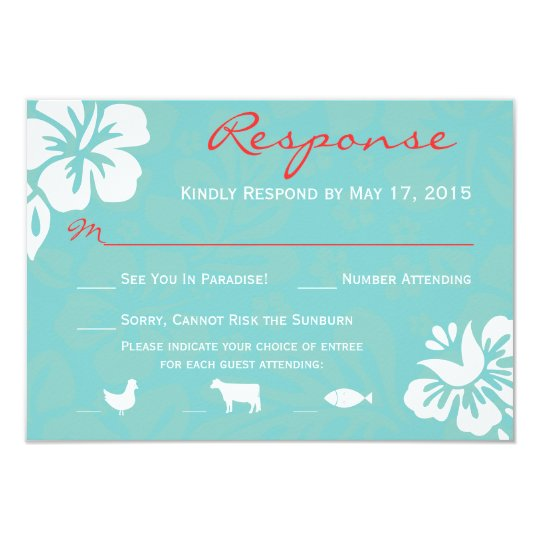 Aqua Blue Beach Flowers RSVP Response Card