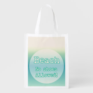Aqua Blue Beach Lovers Quote Typography Reusable Grocery Bag